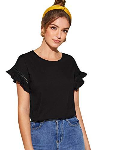 - Romwe Women's Short Sleeve Ruffle Trim Contrast Lace Cotton Summer Blouse Top Black S