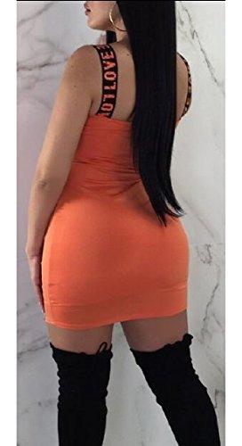 Cocktail Party Jaycargogo Letter Sleeveless Sexy Dress Print Bodycon Orange Womens SS0Y6qO