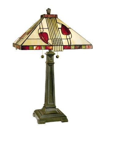 Dale Tiffany 2721/739 Henderson Table Lamp, Antique Bronze and Art Glass Shade - Fine Art Lamps Bronze Table Lamp