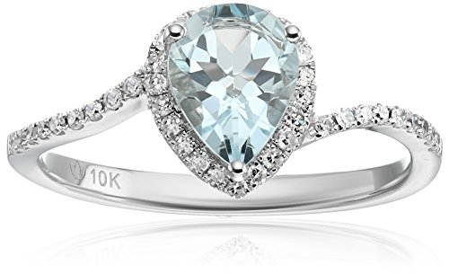 10k White Gold Aquamarine and Diamond Princess Diana Pear...