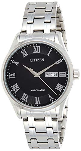 Citizen NH8360-80E Men's Stainless Steel Roman Black Dial Day Date Automatic Watch