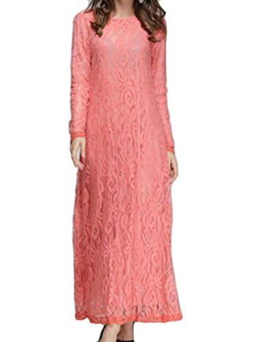 Hollow Floor Neck Pink Crew length Lace Skinny Coolred Muslim Long Women Dress qEEHg