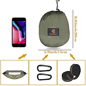 CHANTPOWER Hammock with Mosquito Net and Sunscreen Cover, Outdoor Anti-Mosquito, Sunscreen Shelter for Hiking Backpacking Backyard