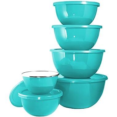 Calypso Basics 44702 12pc Enamel Bowl Set, Turquoise