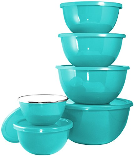 Turquoise Lid (Calypso Basics by Reston Lloyd 12-Piece Enamel on Steel Bowl Set with Airtight Lids, Turquoise)