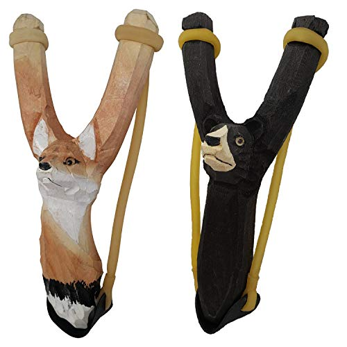 NatureLaunchers Nature LAUNCHERS - Hand-Carved Wooden Slingshot - 2 Pack - Bear and -