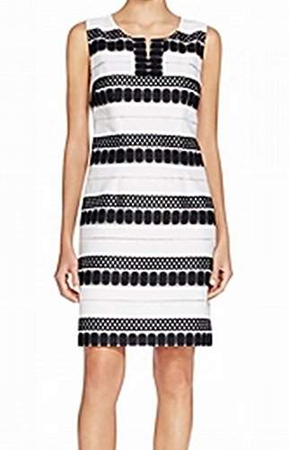 Shelli Segal Stripe - Laundry by Shelli Segal Black Women Stripe Sheath Dress White 0
