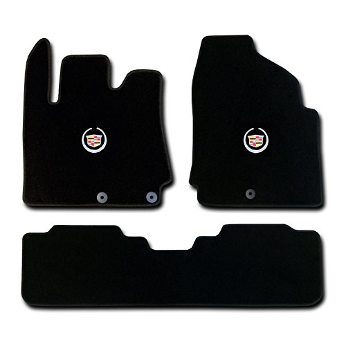 Cadillac SRX 3 Pc (2 Fronts / Rear Runner) Black Custom Fit Carpet Floor Mat Set with Cadillac Crest Logo on fronts - Fits 2010 11 12 13 14 15