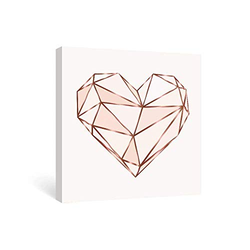 SUMGAR Pink Wall Art Bedroom Modern Pictures Fashion Canvas Prints Rose Gold Paintings Geometric Love Framed Artwork Teen Girls Dorm Decorations,12x12 in (Renewed)