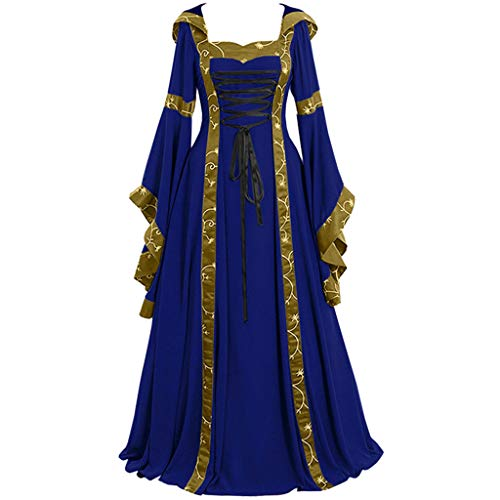 Women Vintage Hooded Dress Medievl Patchwork Lace up Renaissance Gothic Costoms Gothic Cosplay Clothes Gowns (XXXXL, Blue)