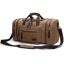 Aidonger Unisex Canvas Travel Bag with big Capacity (Coffee-04)