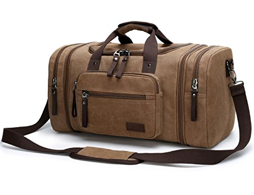 Aidonger Unisex Canvas Travel Bag Duffel Bag Weekend Bag with Strap (Coffee-04)