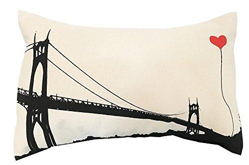 St. John's Bridge Portland Oregon Cotton Canvas Rectangular Throw - Pillow John Cotton