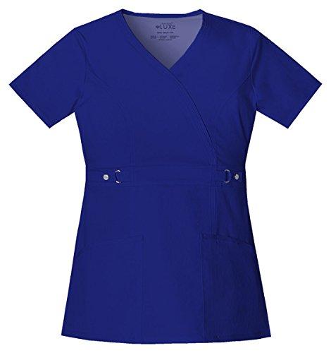 Cherokee Women's Luxe Junior Fit Mock Pocket Wrap Top_Galaxy Blue_XX-Small,21701 (Mock Wrap Luxe)