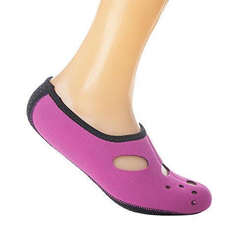 Vertvie Unisex Surfschuhe Strandschuhe Soft Barfuß Wasser Skin Aqua Schuhe Schnell Trocknend Rutschfeste Schwimmschuhe Rosa