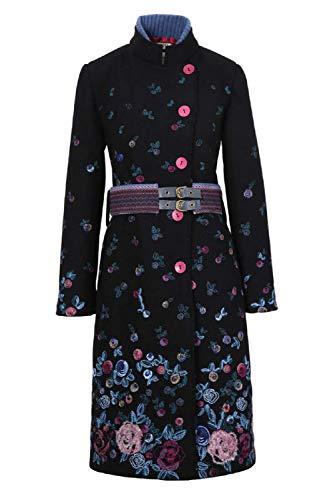 Zip Jacket Wool Boiled - IVKO Boiled Wool Coat with Embroidery 82501 (Black) (US 12 - EUR 42)