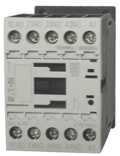 [Eaton / Moeller DILA-40 4 pole control relay with a 110/120 volt AC coil. Comes with 4 N.O. base contacts, rated for 16 AMPS and mounts on standard 35mm DIN rail] (Eaton Relay)