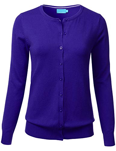 (FLORIA Women's Button Down Crew Neck Long Sleeve Soft Knit Cardigan Sweater RoyalBlue L)