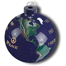 Earth Ornament, Peace In Many Languages, Glass With Natural Earth Continents, 50 Rivers, 2.5 Inches