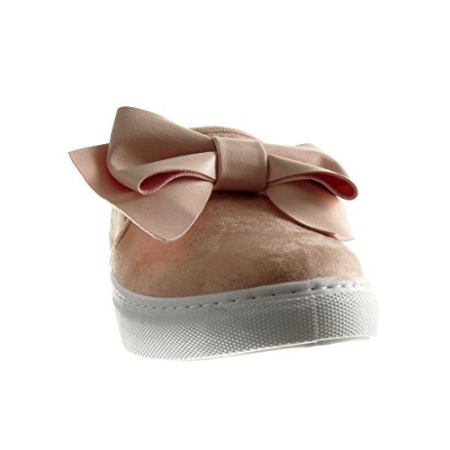 Angkorly - Chaussure Mode Baskets slip-on femme noeud papillon Talon plat 2 CM - Rose