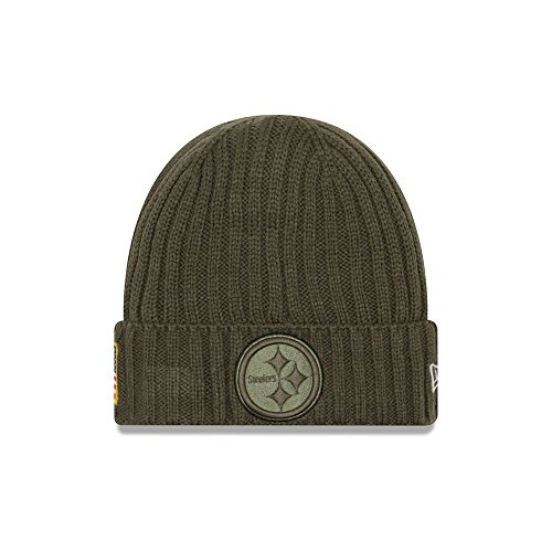 New Era Men's Men's Steelers 2017 Salute to Service Cuffed Knit Hat Olive Size One Size ()
