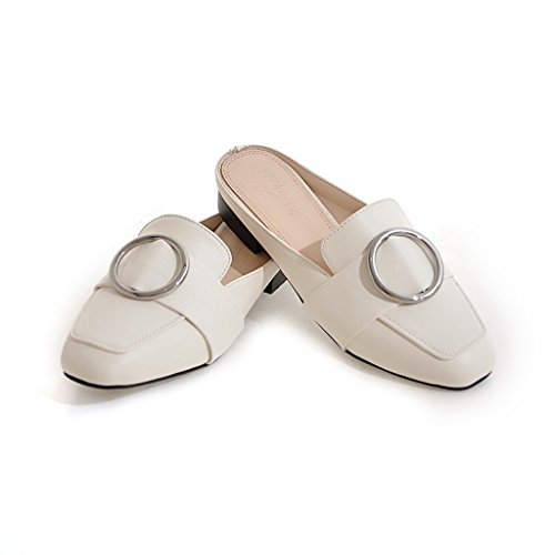 YE Damen Flache Pantoletten Mule Pumps Bequem Schuhe Weiß
