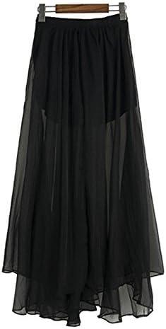 ShiFan Mujer Maxi Faldas Cintura Elástica Transparente Largas ...