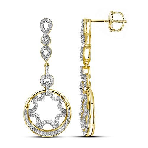 (Diamond Starburst Circle Dangle Screwback Earrings 1/2ct 10k Yellow Gold)