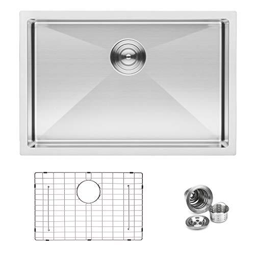 - BAI 1247 Handmade 27-inch Undermount Shallow Single Bowl 16 Gauge Stainless Steel Kitchen Sink