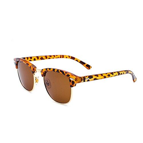 Lunettes Femmes verres Yefree UV400 monture avec demi soleil rétro de Or Léopard polarisés hommes qEdrUPd4