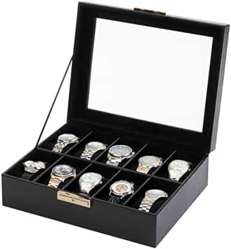 Orbita Roma 10 Watch Display Case Storage Box W93011 in Black Leather