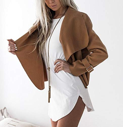 Outwear Coat Open Blouse Womens Top Collar Turn Woolen Front RkBaoye Camel Down tRwvqF