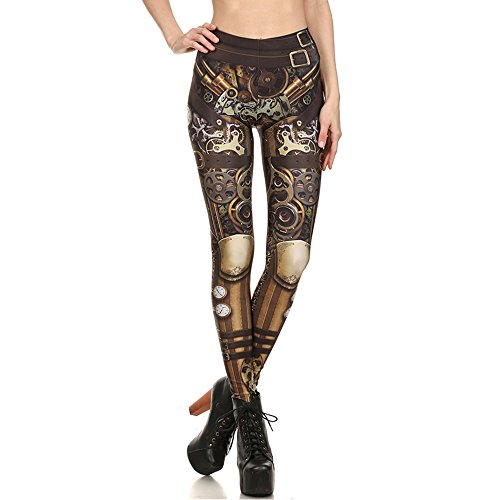 Women Steampunk Retro Leggings Comic Cosplay Punk Print Polyester Gothic Trousers Capris Pants S-4XL Plus Size