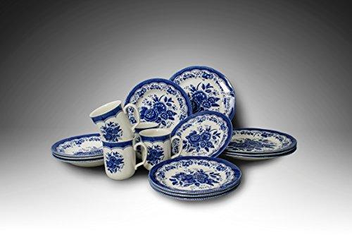 416zMBJ3RmL - Tudor 16-Piece Porcelain Dinnerware Set, Service for 4 - VICTORIA BLUE, 10 Designs Inside!