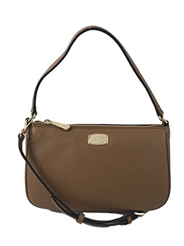 - MICHAEL KORS Jet Set Item MD Convertible Leather Pouchette Crossbody Bag in Acorn