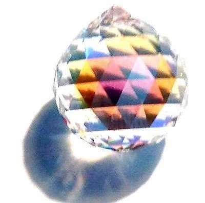 AB (Aurora Borealis) Crystal Ball Prism Pendant Suncatcher, 30mm (Vintage Swarovski Crystal Ab)