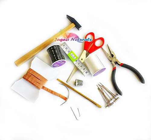 New Wig Makers tool kit for use with Canvas Head. scissors, Asian Needle ,German Needle ,Needle Holder ,Pins ,Galloon (Ribbon) ,Thimble ,Sewing Needle (With Pliers and Hammer)