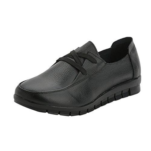 Yiiquan PU Confort Printemps et Chaussures Chaussures Plates Cuir Noir Souple Femmes Pour L'automne Lacet Le BqrXB