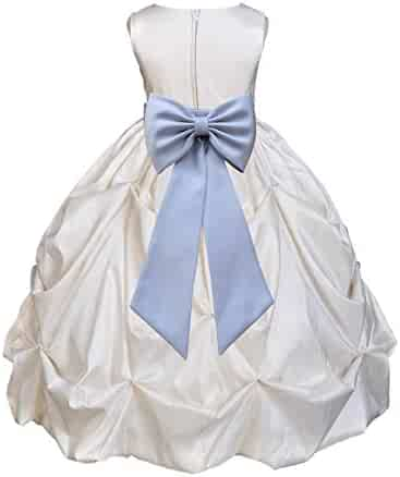 e6ce8aaa34 Ivory Satin Taffeta Pick-Up Bubble Junior Flower Girl Dress Birthday 301T