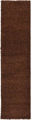 Brown 2'6 X 10' Runner (Unique Loom Solid Shag Collection Chocolate Brown 3 x 10 Runner Area Rug (2' 6