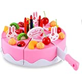 Plastic Kitchen Cutting Toy Birthday Cake Pretend Play Food Toy Set for Kids