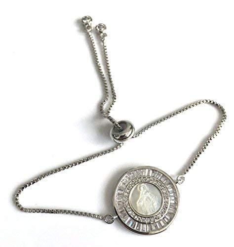 (Silver Plated Miraculous Medal Adjustable Bolo Chain Bracelet Virgen de La Milagrosa)