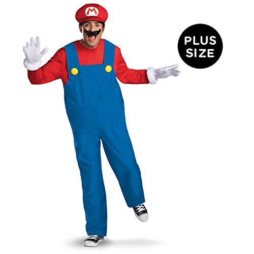 Mario Luigi Womens Halloween Costumes (Disguise Super Mario Deluxe Mens Adult Costume, Red/Blue,)
