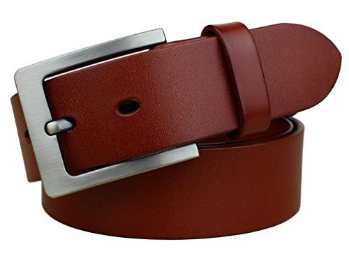 Bullko Men's Casual Jean Belt Classic Buckle Leather Belts 1.5