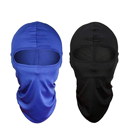 Balaclava Ski Face Mask for Women Men Windproof Motorcycle Tactical Balaclava with Hood Moisture Wicking sun protection for fishing running skiing Cycling Hiking airsoft [2 Pack] (Black+White)