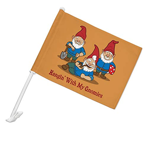 GRAPHICS & MORE Hanging with My Gnomies Gnomes Car Truck Flag with Window Clip On Pole Holder - Left Driver Side