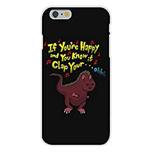 "Apple iphone 4 4s Custom Case White Plastic Snap On - ""If You're Happy.. Can't Clap"" Funny Tyrannosaurus Rex Dinosaur Small Arms Humor"