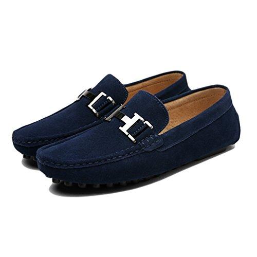 De Mocasines De Slip Zapatos Mocasines Zapatos Hombres Vaca CóModos ConduccióN Zapatos Y Transpirables Cuero Cuero Gamuza Casual Blue5211 En Hombres FXq8XwY