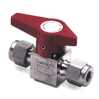"Swagelok B-2P4T Brass Quarter-Turn Instrument Plug Valve, 1/8"" Tube Fitting, 0.10 Cv by Swagelok Company"