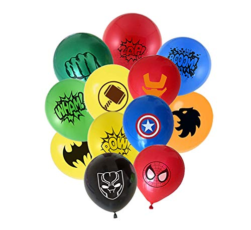 MC TTL 24pcs Super hero 12' Latex Balloons 12 different patterns for Kids Birthday Party Favor Supplies Decorations